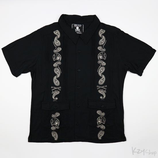 JUNK STAR - Skull Paisley embroidered Cuban shirt